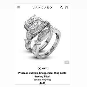 Vancaro Jewelry - Vancaro Princess Cut Engagement Ring Set CZ